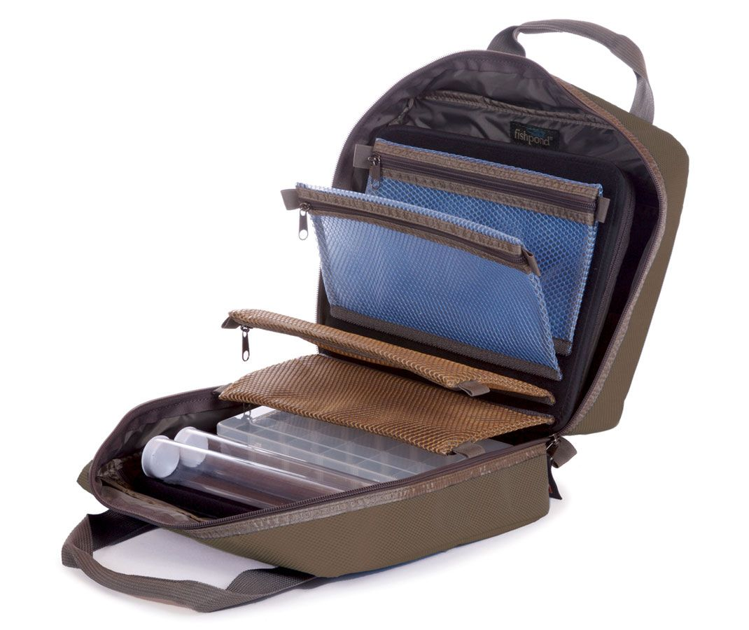 Fishpond fishpond road trip fly tying bag feather craft for Fly fishing bag