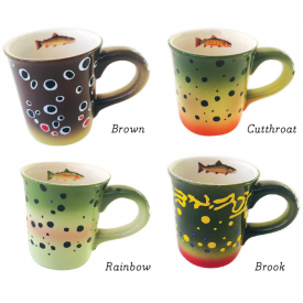 Hand Painted Stoneware Trout Mugs